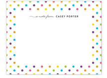 This is a colorful kids thank you cards note by Liz Conley called Dotted Border with standard printing on signature in standard.
