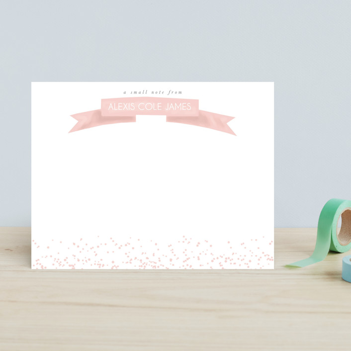 """Ribbon Notes"" - Preppy, Simple Children's Stationery in Blush by Refound Nostalgia."