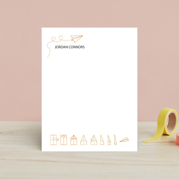 """Taking Flight"" - Simple, Hand Drawn Children's Stationery in Tangerine by Chris Connors."