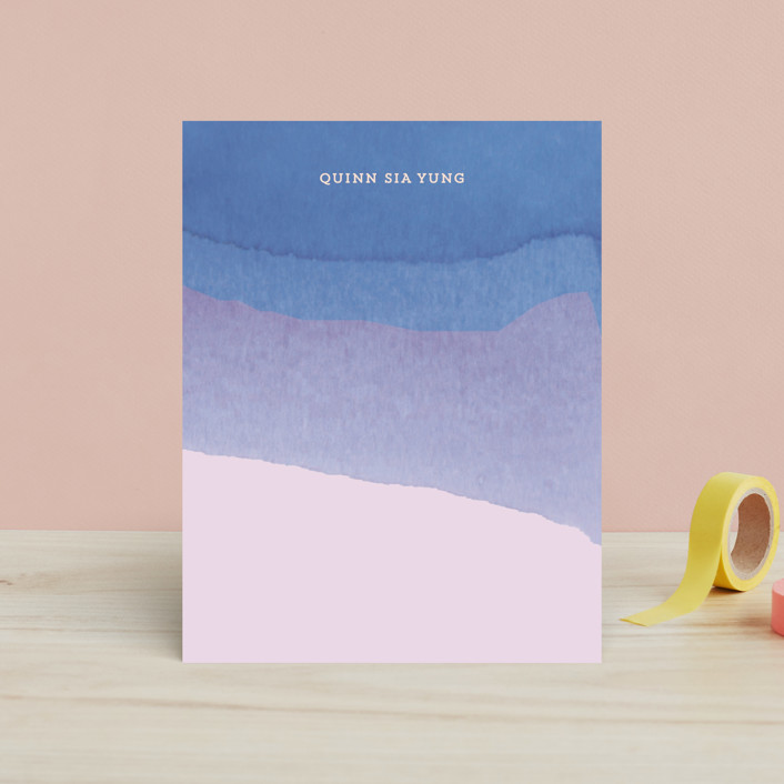 """Watercolor Dip"" - Simple, Modern Children's Stationery in Carnation by Baumbirdy."