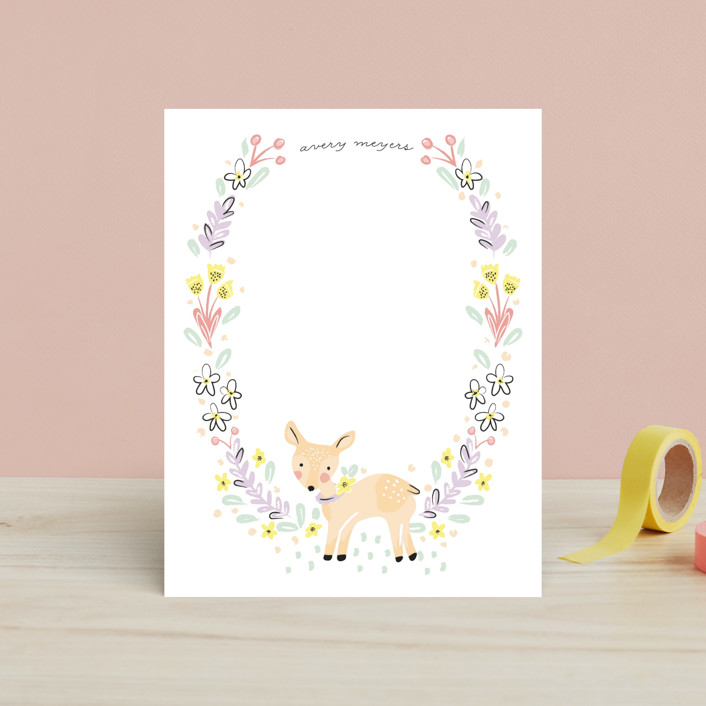 """Little Dear"" - Children's Stationery in Peach by Pistols."