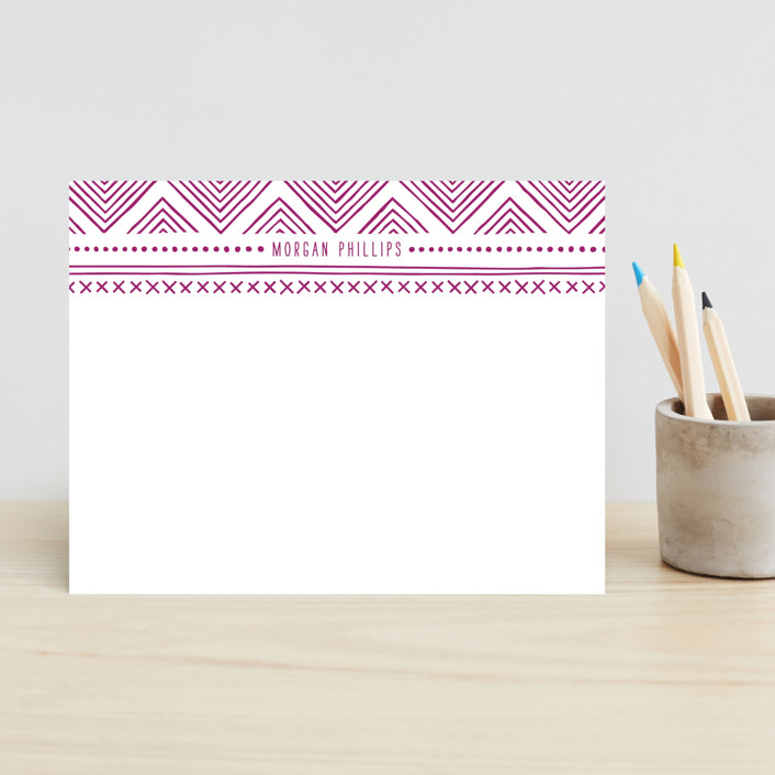 """Indio"" - Modern, Hand Drawn Children's Stationery in Magenta by Amber Barkley."