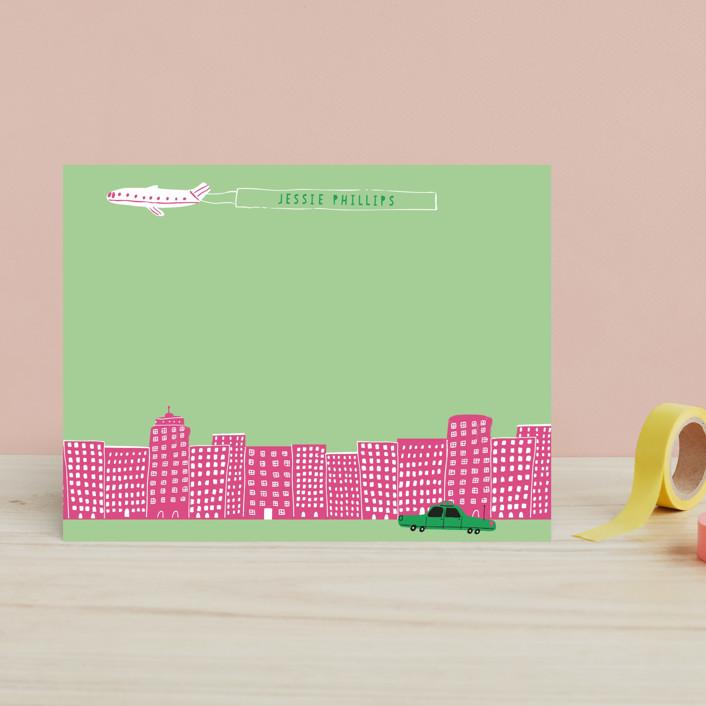 """Cityscape"" - Hand Drawn, Modern Children's Stationery in Strawberry Jam by Jordan Sondler."