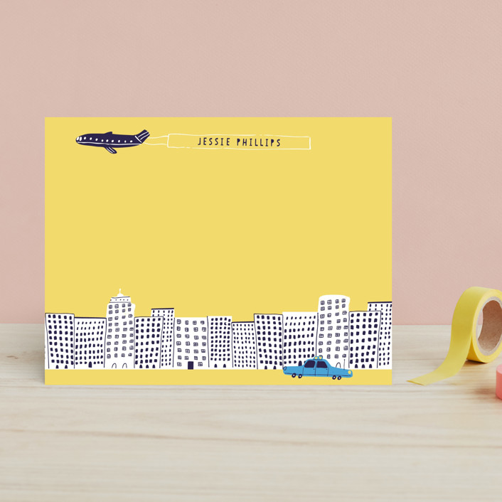 """Cityscape"" - Hand Drawn, Modern Children's Stationery in Strawberry Jam by Jordan Sondler."