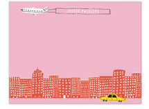 This is a pink kids thank you cards note by Jordan Sondler called Cityscape with standard printing on signature in standard.