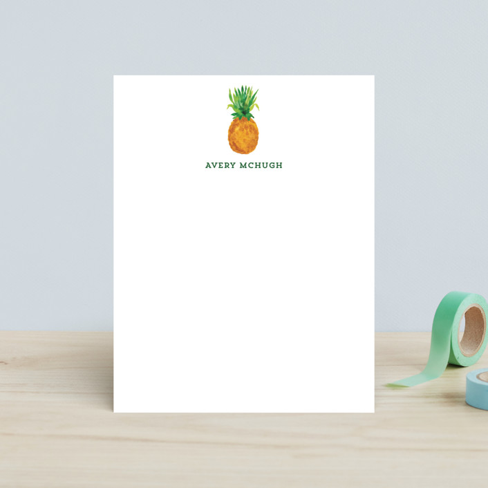 """Be A Pineapple"" - Hand Drawn, Whimsical & Funny Children's Stationery in Golden Brown by Laura Bolter Design."