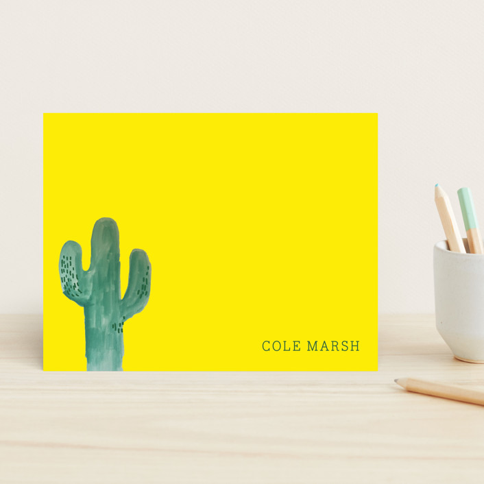 """Wild Cactus"" - Modern, Modern Children's Stationery in Cloud by Baumbirdy."