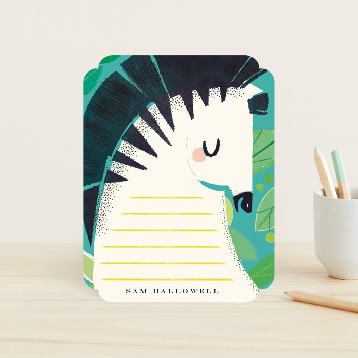 """""""Let's Safari"""" - Hand Drawn, Whimsical & Funny Children's Stationery in Teal by Lori Wemple."""