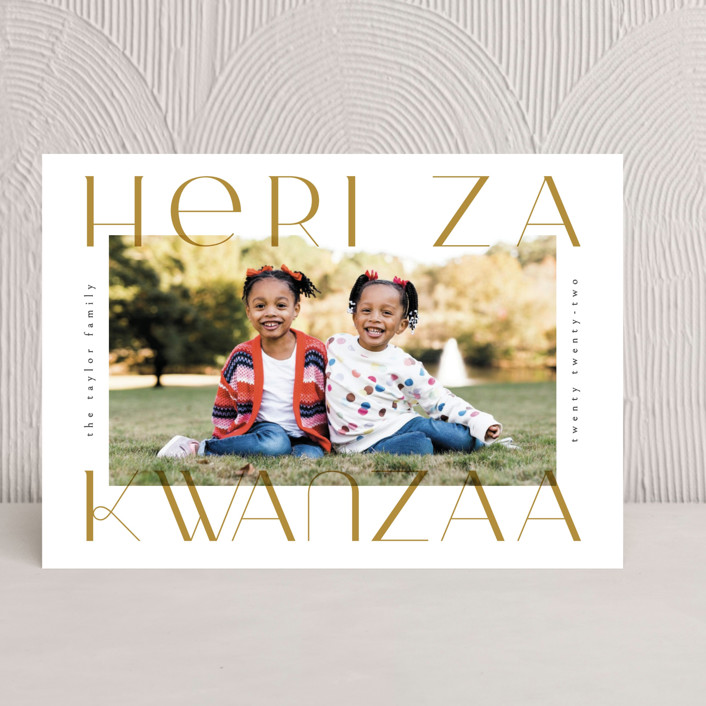 """""""Merriest&Bright"""" - Kwanzaa Cards in Golden by Ana de Sousa."""