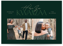 This is a green kwanzaa card by Owl and Toad called Elegant with standard printing on signature in standard.