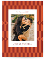 This is a red kwanzaa card by Anelle Mostert called Kente Cloth with standard printing on signature in standard.