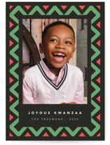This is a black kwanzaa card by letterfix called Geometric Frame with standard printing on signature in standard.