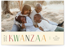 This is a beige kwanzaa card by Pixel and Hank called Bright Kwanzaa with standard printing on signature in standard.