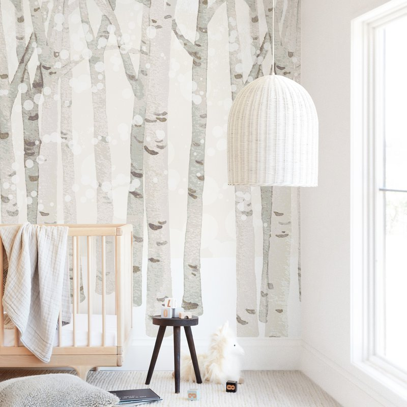 """""""Birch Woods in Winter"""" - Kids Non-custom Wall Murals by Four Wet Feet Studio in beautiful frame options and a variety of sizes."""