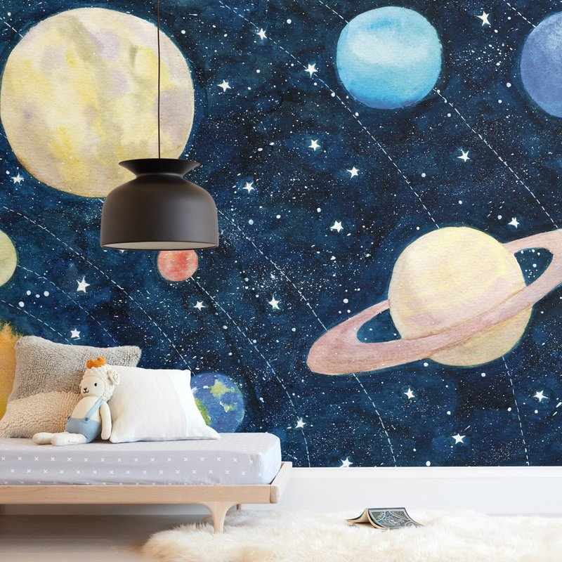 """Solar System"" - Kids Non-custom Wall Murals by Alexandra Dzh in beautiful frame options and a variety of sizes."