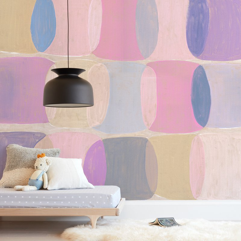 Painted Geo Overlay Wall Mural