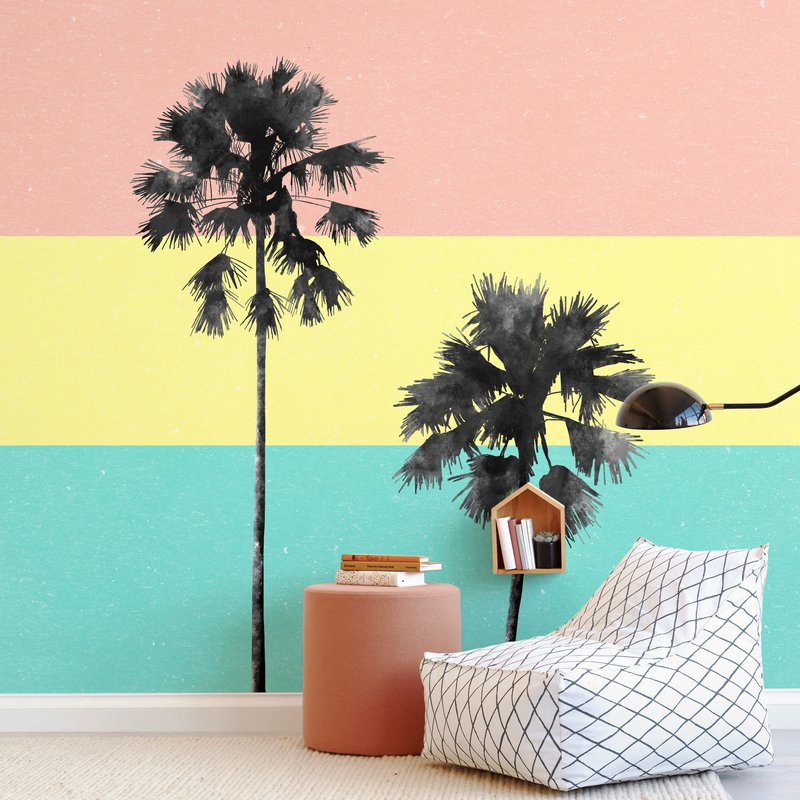 Palm Tree Silhouette Wall Mural