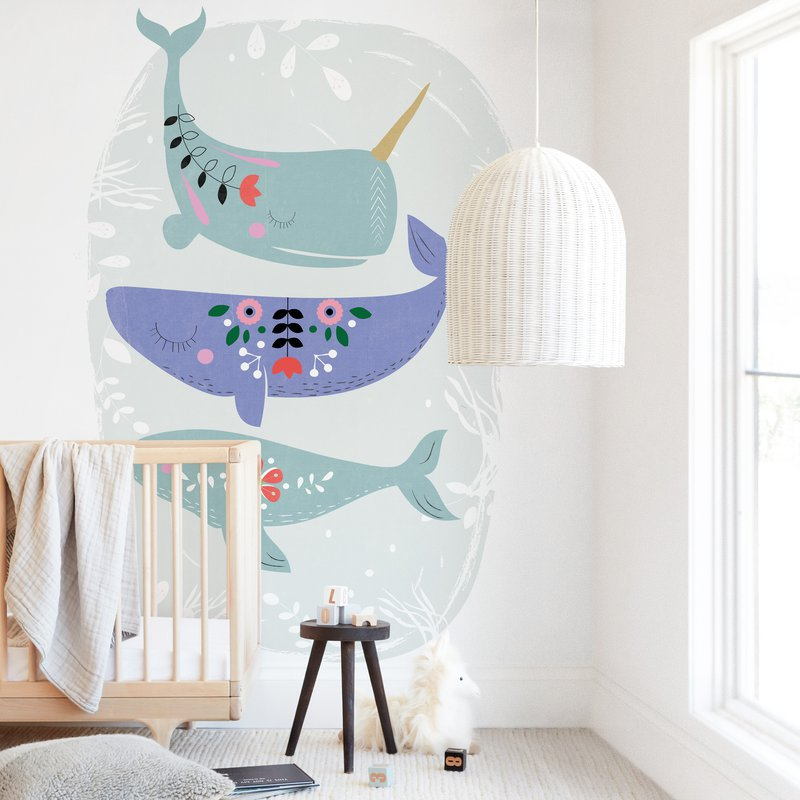 Folk Whales Wall Mural