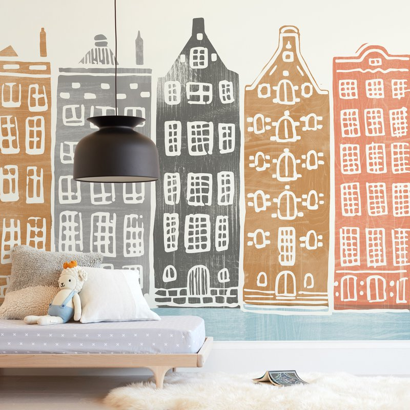 """""""On the Canal"""" - Kids Non-custom Wall Murals by Griffinbell Paper Co. in beautiful frame options and a variety of sizes."""