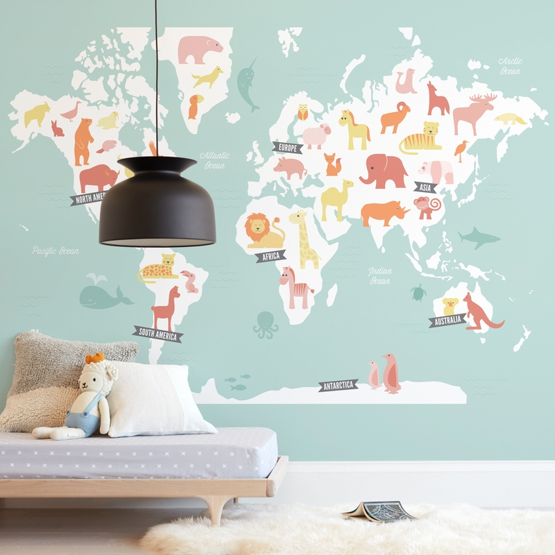 """""""Animal World Map"""" - Kids Non-custom Wall Murals by Jessie Steury in beautiful frame options and a variety of sizes."""