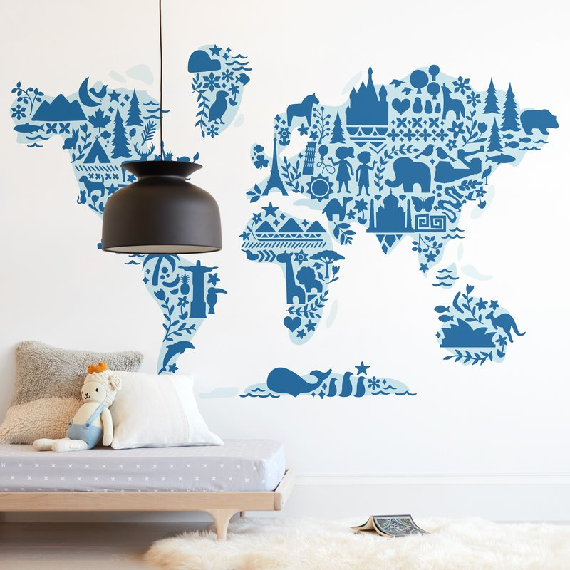 Little Big World Map Wall Mural