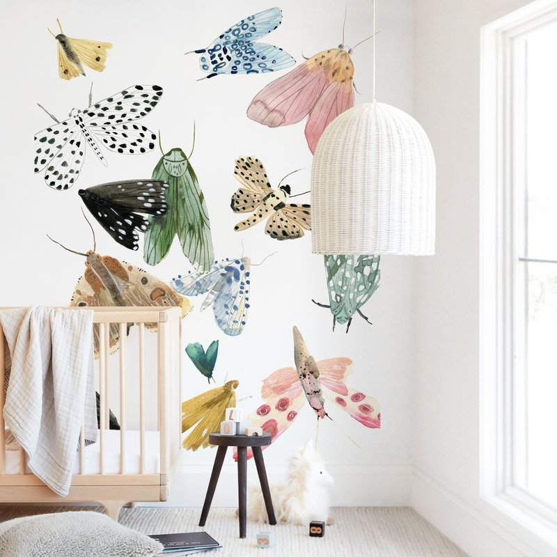 """Moths"" - Kids Non-custom Wall Murals by Emilie Simpson in beautiful frame options and a variety of sizes."