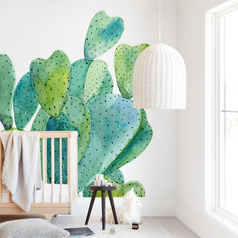 """Cacti"" - Kids Non-custom Wall Murals by Alexandra Dzh in beautiful frame options and a variety of sizes."