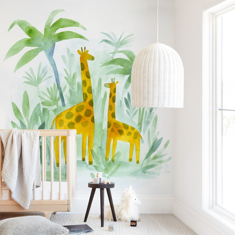 Giraffes on Holiday Wall Mural