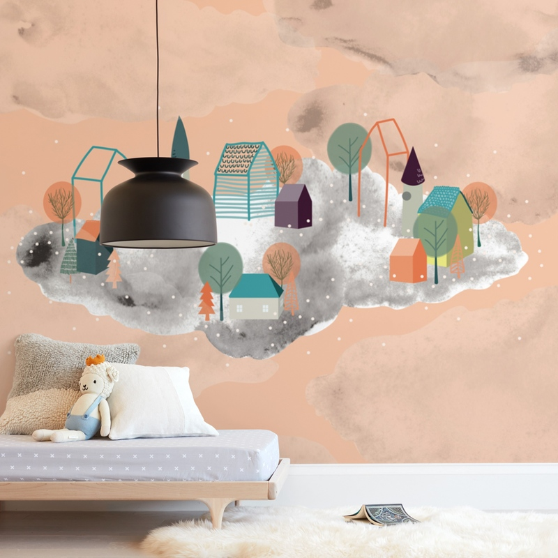 Town in the Clouds Wall Mural