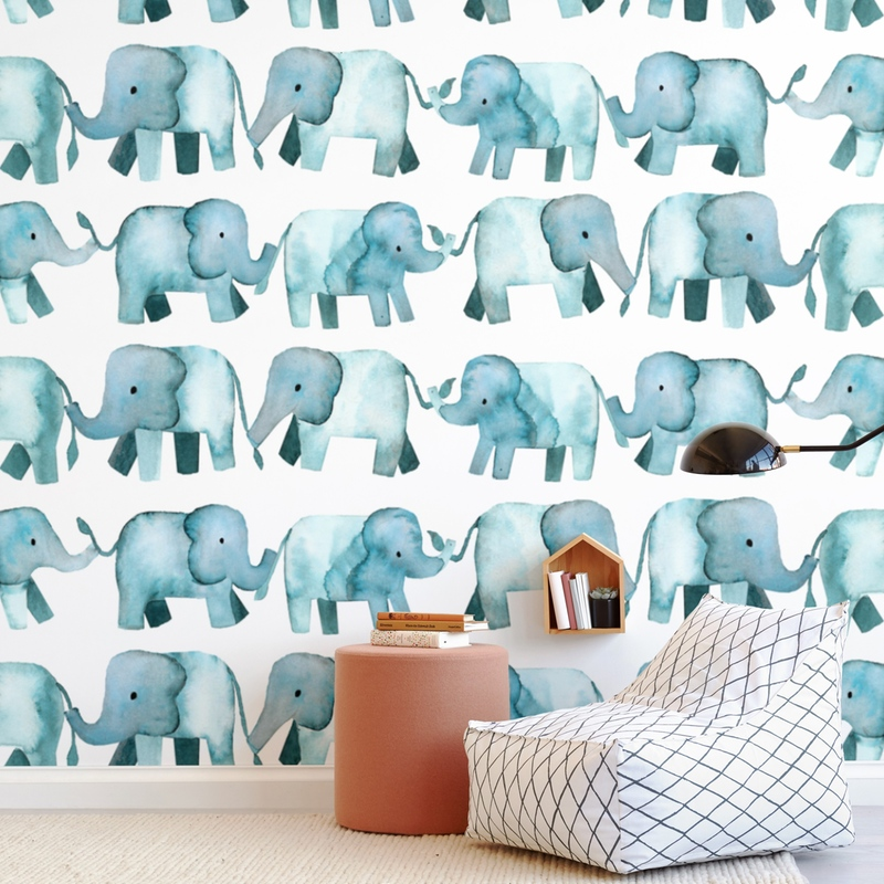 Baby Elephants Wall Mural