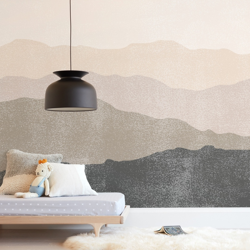 foggy mountain view Wall Mural