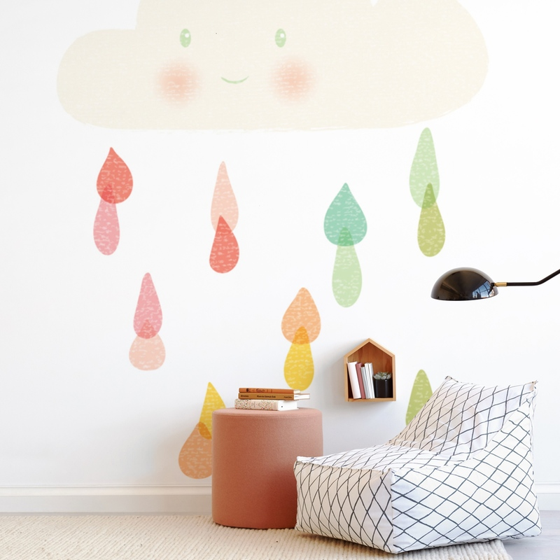 Little Cloud and Rainbow Drops Wall Mural