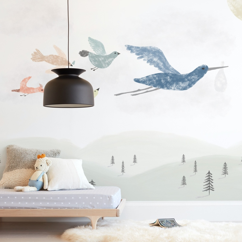 Stork at work Wall Mural