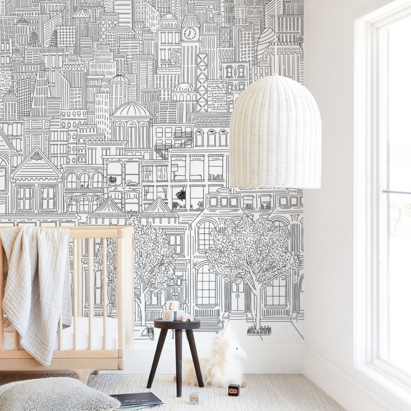 """""""In The City"""" - Kids Non-custom Wall Murals by Shiny Penny Studio in beautiful frame options and a variety of sizes."""