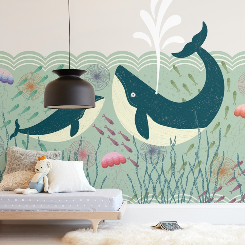 """Out at Sea"" - Kids Non-custom Wall Murals by Rebecca Humphreys in beautiful frame options and a variety of sizes."
