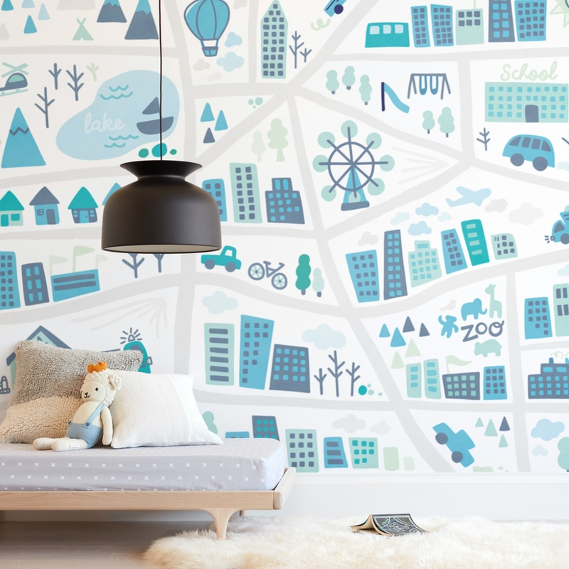 """""""Kid City Map"""" - Kids Non-custom Wall Murals by Jessie Steury in beautiful frame options and a variety of sizes."""