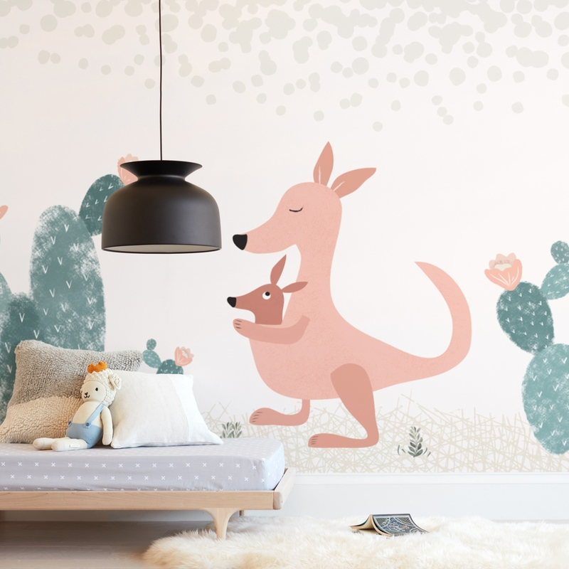 """Kangaroo garden"" - Kids Non-custom Wall Murals by Maja Cunningham in beautiful frame options and a variety of sizes."