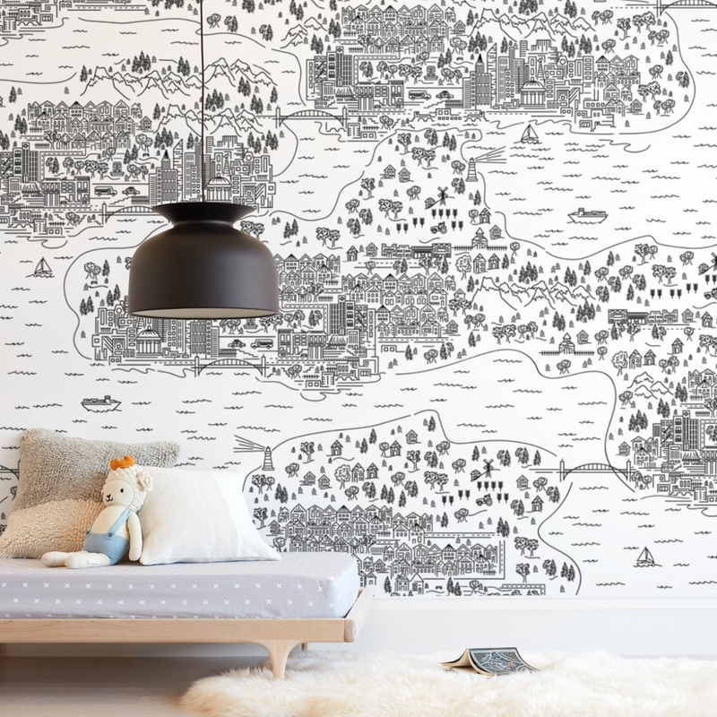 """""""Line Map"""" - Kids Non-custom Wall Murals by Shiny Penny Studio in beautiful frame options and a variety of sizes."""