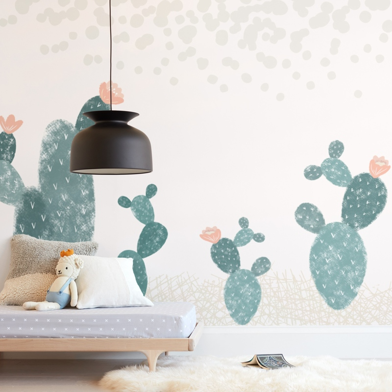 """Cactus Garden"" - Kids Non-custom Wall Murals by Maja Cunningham in beautiful frame options and a variety of sizes."