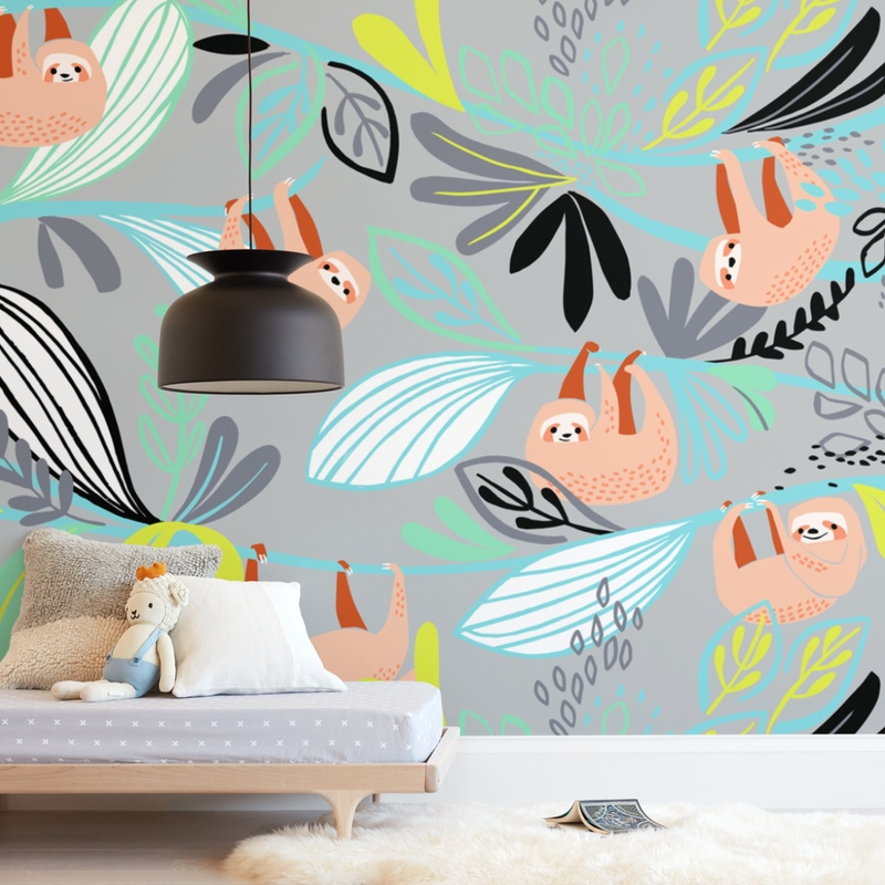 Rainforest Sloths Wall Mural