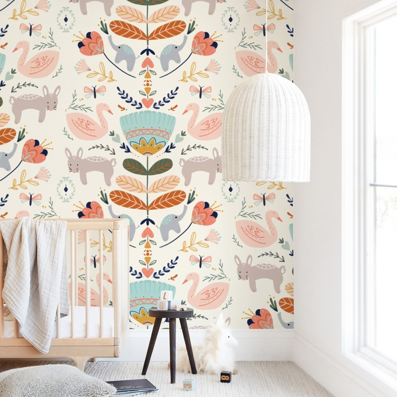 """""""Folk Animal and Floral"""" - Kids Non-custom Wall Murals by Angel Walker in beautiful frame options and a variety of sizes."""