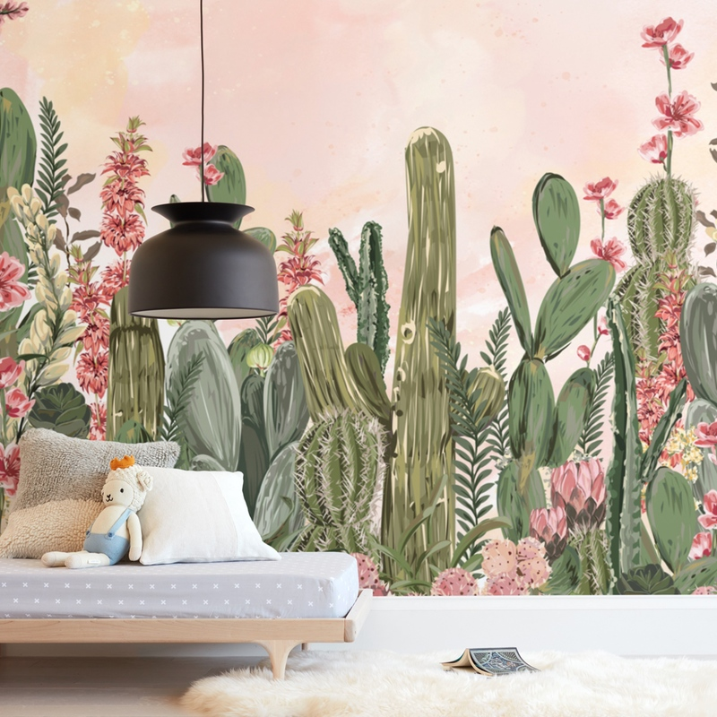 """Cactus Fantasy Garden"" - Kids Non-custom Wall Murals by Susan Moyal in beautiful frame options and a variety of sizes."