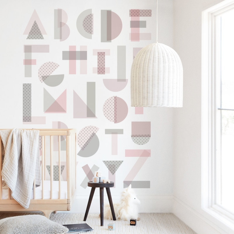 """""""Geometric Alphabet"""" - Kids Non-custom Wall Murals by Amy Payne in beautiful frame options and a variety of sizes."""