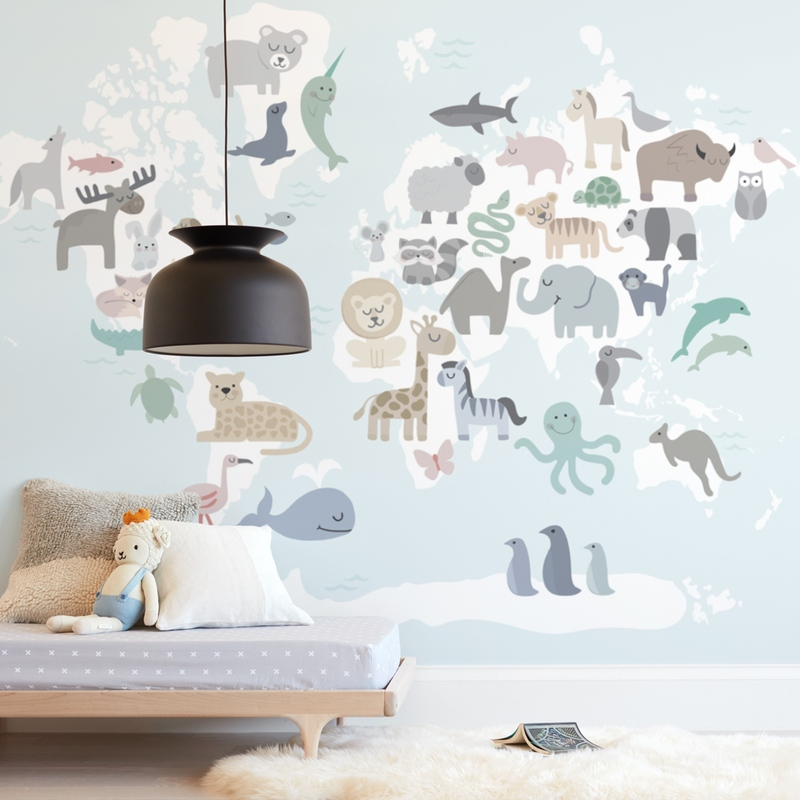 """""""Wild World Map"""" - Kids Non-custom Wall Murals by Jessie Steury in beautiful frame options and a variety of sizes."""