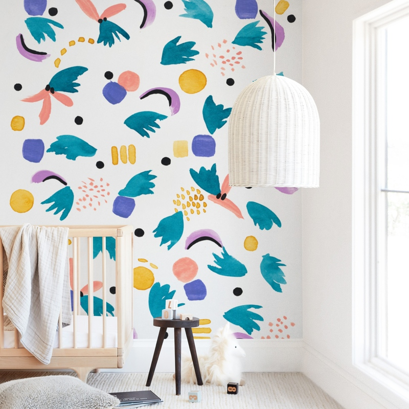 """""""Geometric plants"""" - Kids Non-custom Wall Murals by FERNANDA MARTINEZ in beautiful frame options and a variety of sizes."""