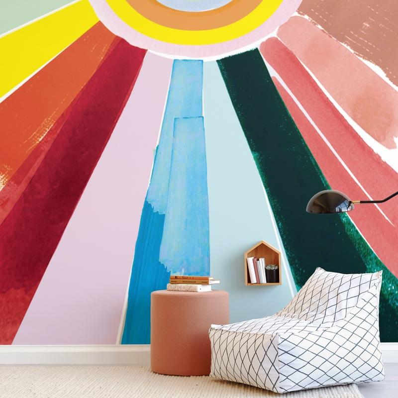 Rainbow Rays Wall Mural