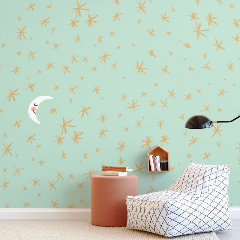 Good Night Moon and Stars Wall Mural