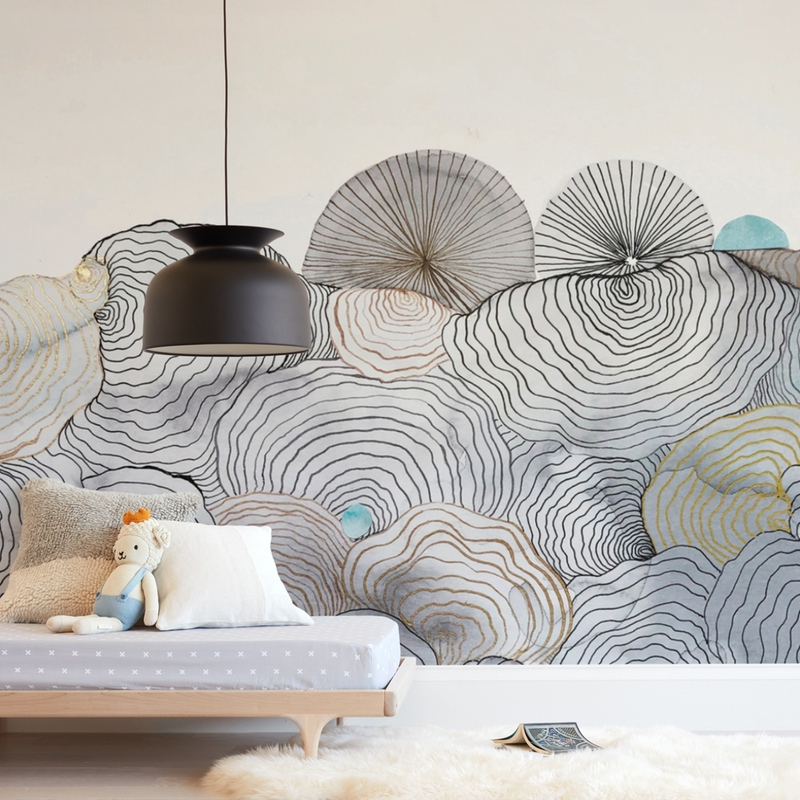 Shells in sand Wall Mural