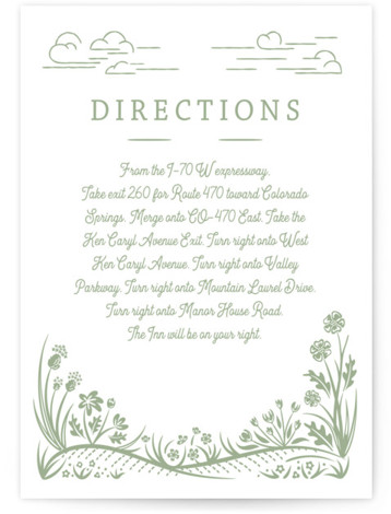 This is a botanical, illustrative, Direction Cards by Paper Sun Studio called On The Horizon with Letterpress printing on 100% Cotton in Card Flat Card format. A mountain range and prairie flowers are featured in this rustic wedding invitation.