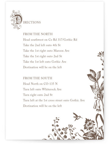 This is a portrait botanical, illustrative, rustic, vintage, whimsical, brown Direction Cards by Jody Wody called Storybook with Letterpress printing on 100% Cotton in Card Flat Card format.